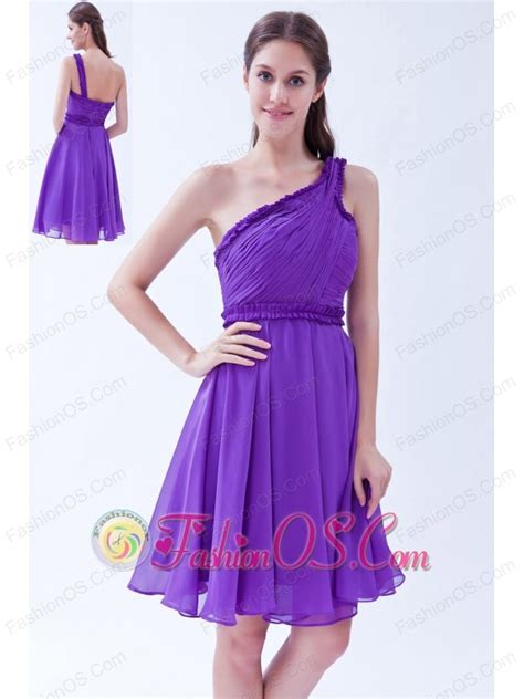 purple a line one shoulder chiffon ruch prom dress knee length