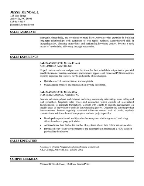 Resume Sles Excel Resume Sle For Retail Sales Associate Retail Sales Associate Resume Exle Retail Sales