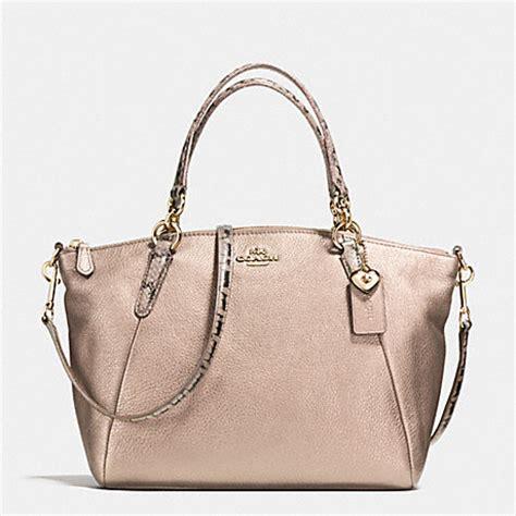Tas Coach Original Coach Small Kelsey Satchel Exotics Trim coach gold metallic handbags handbags 2018
