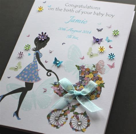 New Baby Handmade Cards - large a5 handmade personalised congratulations new