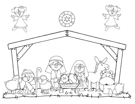 nativity scene animals coloring pages dibujos de navidad faciles para colorear en familia
