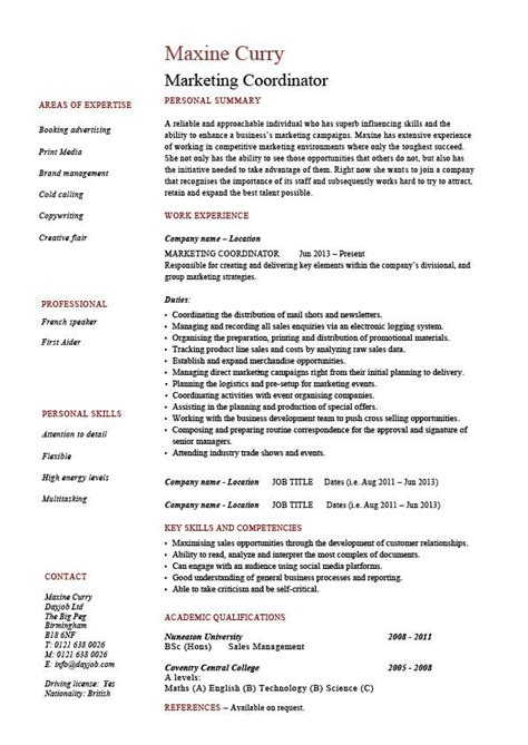 Sample Of One Page Resume by Marketing Coordinator Resume Sales Example Sample