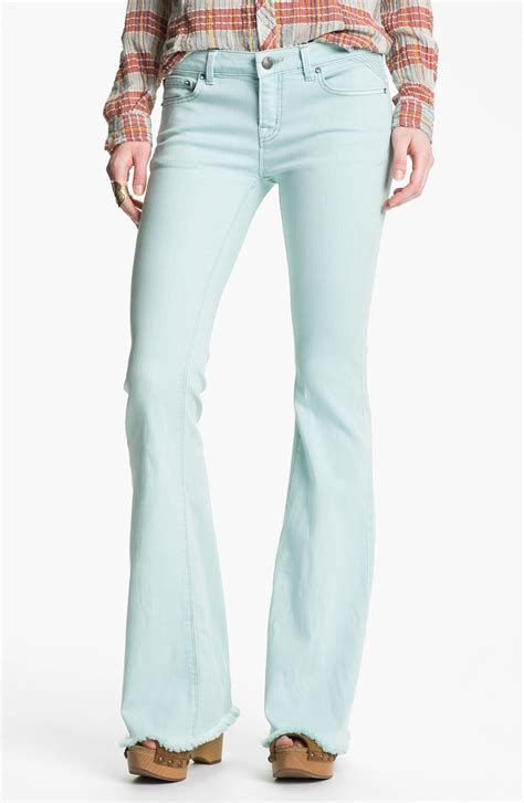 light colored jeans free people millennium colored denim bootcut jeans pale