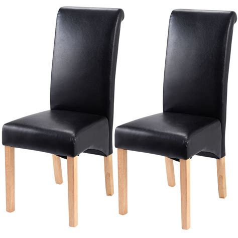 set of 2 leather wood contemporary dining chairs