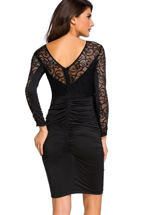 Black Hollow Back Size L black hollow lace v back ruched sleeve bodycon dress sleeve dresses