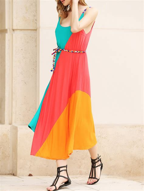 gorgeous colorful slant stripe print irregular hem summer