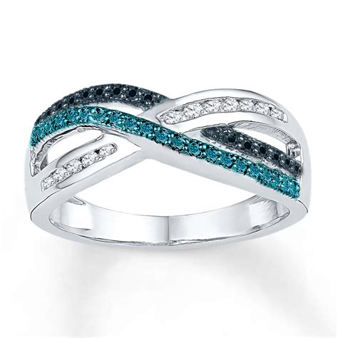 jared blueblack diamond ring  ct tw  cut