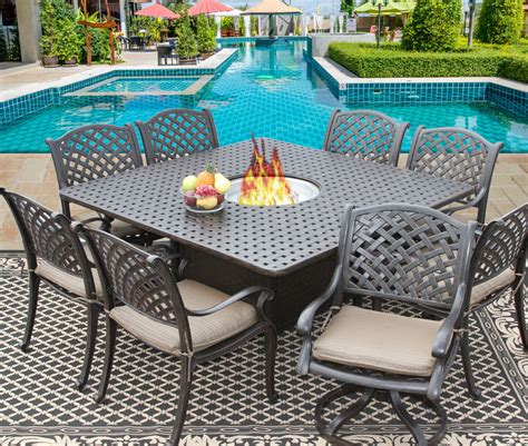 9 Pc Cast Aluminum Nassau Outdoor Patio Dining Set For 8 Patio Table For 8