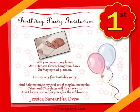 1st year birthday invitation wording 1st birthday invitation wording wordings and messages