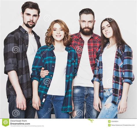 hipster male student showing thumb group stock photo group of happy young men and women stock photo image