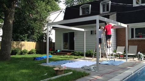 Free Standing Patio Awnings My Diy Pergola Built Out Of Aluminum Youtube