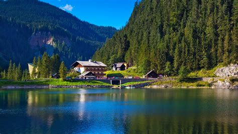 Modern Wallpaper by Wallpaper Alps Mountains Lake House Austria Hd 4k World 4031