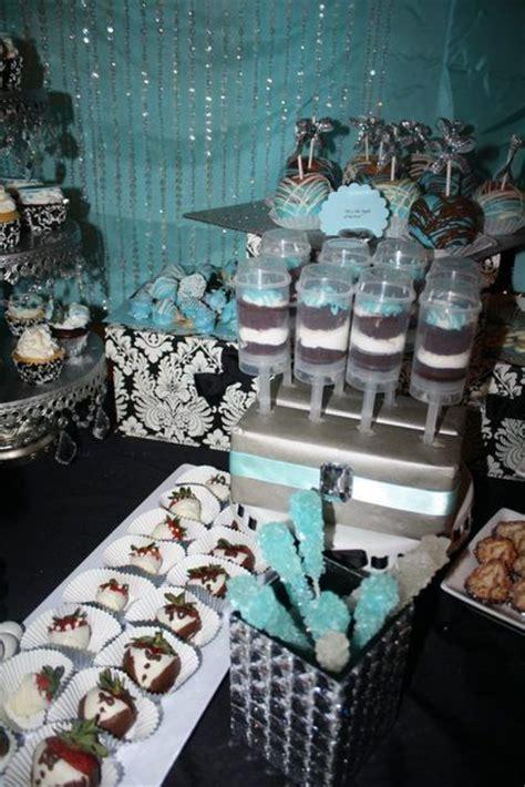 damask and blue bridal wedding shower ideas dessert buffet big and