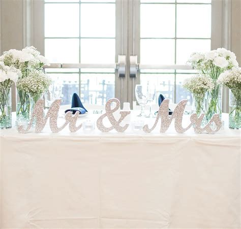 Mr & Mrs Signs for the Wedding Sweetheart Table Decor in a