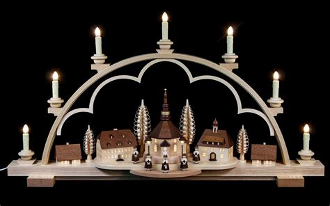 candle arch seiffen village natural wood 120v 80x15x43cm
