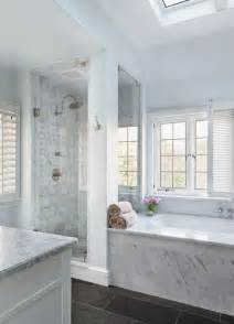 White Marble Bathroom Ideas by Splendor In The Bath White Bathroom With Dark Floors