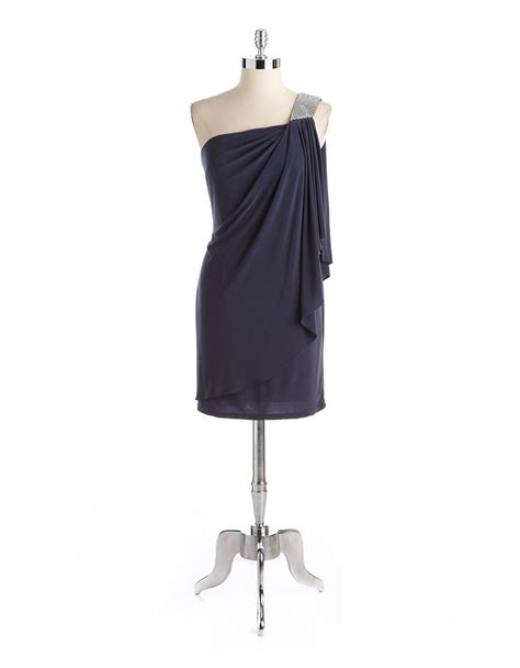 shoulder drape necklace betsy adam beaded one shoulder draped dress in gray lyst