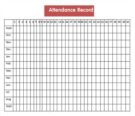Attendance History Card Free Template by Attendance Sheet Templates 10 Free Documents