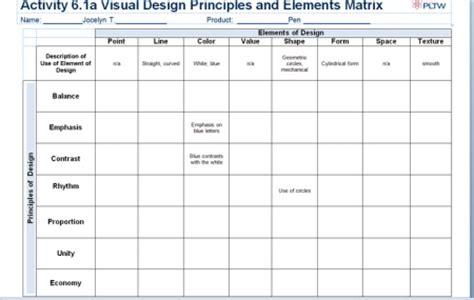 design elements matrix 6 1 design matrix jocelyn s pltw portfolio