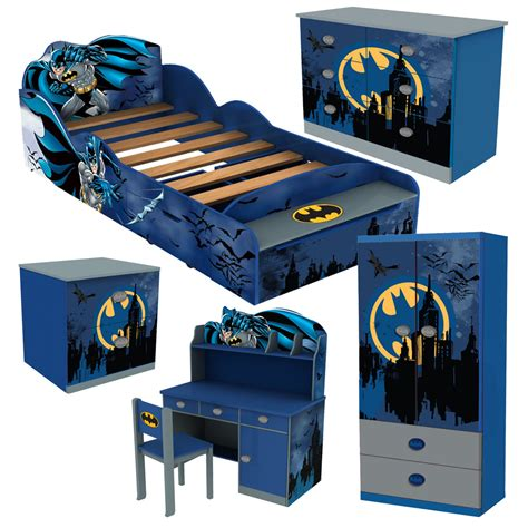 Youth Bedroom Batman Dark Knight 6 Pcs Set Twin Bed Batman Desk Accessories