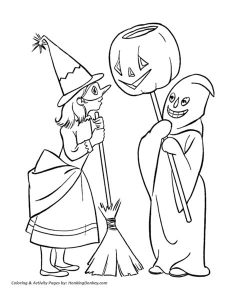 halloween costume coloring pages boy and girl halloween