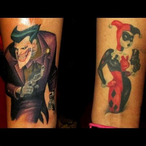 batman tattoo couple the joker and harley quinn tattoos done by art here at