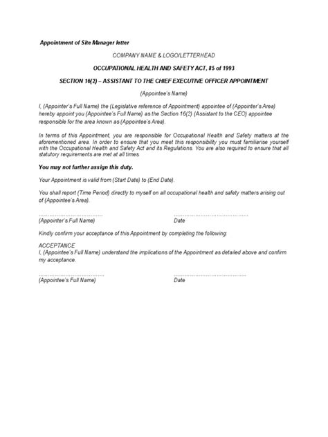appointment letter with description appointment letters occupational safety and health safety