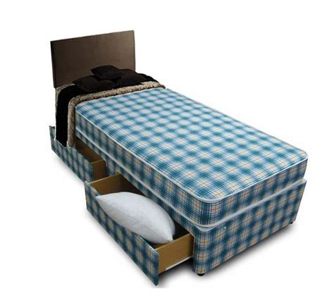 bed with mattress included 3ft single divan bed including mattress in blue white check