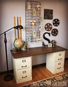 filing cabinet desk two honey oak file cabinets turned desk interesting