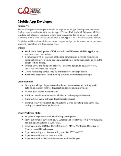 App Design Job Description | mobile app developer job description