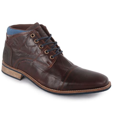 mustang 859 502 mens leather boots in brown