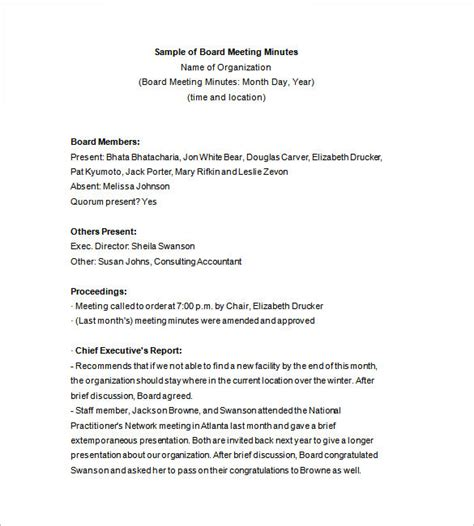 sle minutes of meeting template board minutes template 8 board meeting agenda templates