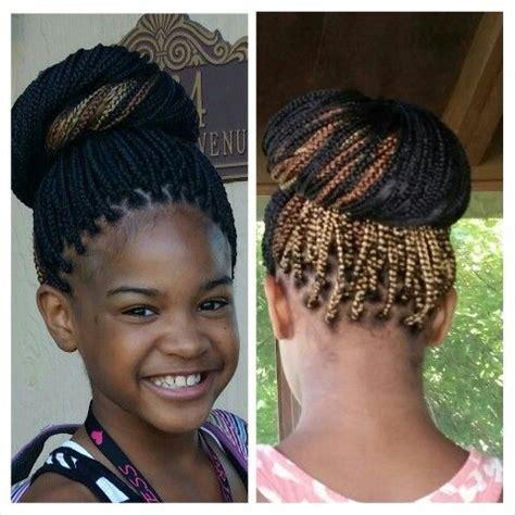 kids hairstyles for box braids extensions kids box braids updo bun multicolored box braids