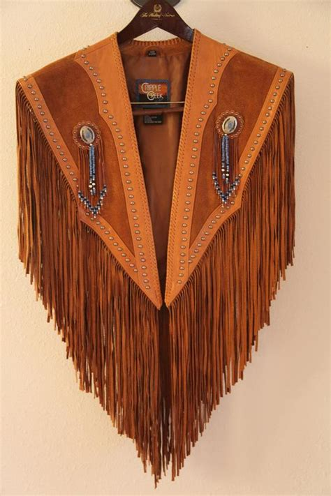 western native american style leather beaded fringe vest
