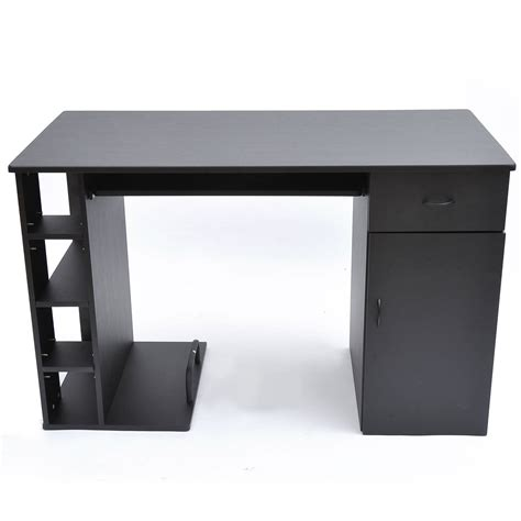 black desk with keyboard drawer homcom computer desk pc workstation table with storage