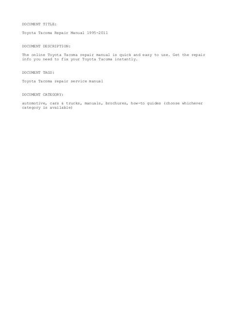 service manual 1995 toyota tacoma repair manual pdf service manual pdf 2003 toyota tacoma toyota tacoma repair manual 1995 2011