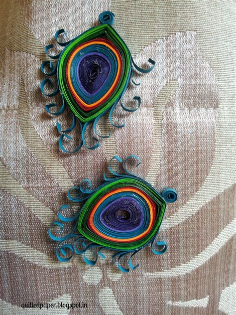 How To Make Peacock Feather With Paper - paper magic quilled earrings peacock feather pattern