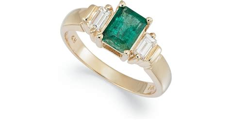 macy s 14k gold ring emerald 1 ct t w and 1