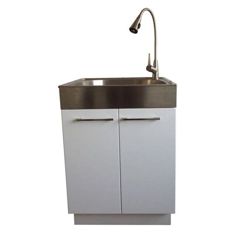 laundry room cabinets with sinks presenza all in one 24 2 in x 21 3 in x 33 8 in stainless steel laundry sink and 2 door