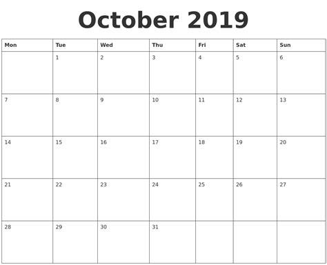 October Calendar Template october 2019 blank calendar template