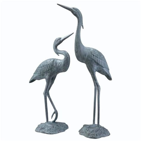 And Bird Sculptures by Garden Heron Pair Solid Brass Statues Outdoor Bird