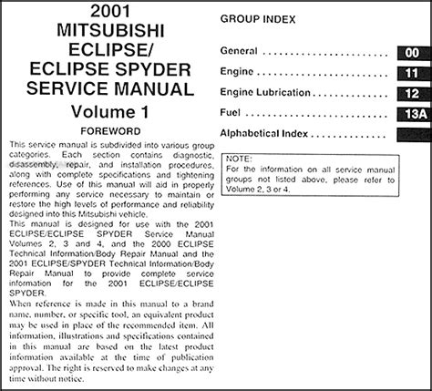 service manual free car repair manuals 2001 mitsubishi eclipse parking system service manual