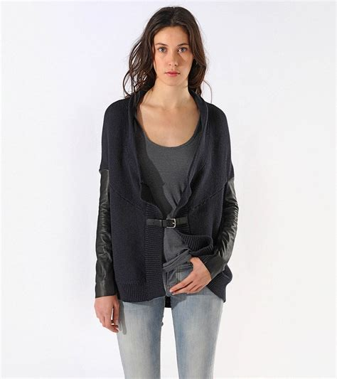 draped open front cardigan maje calane draped open front cardigan in black lyst
