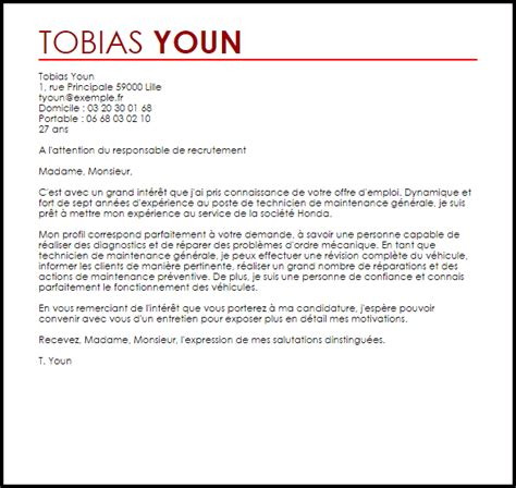 Lettre De Motivation De Technicien Exemple Lettre De Motivation Technicien De Maintenance G 233 N 233 Rale Livecareer