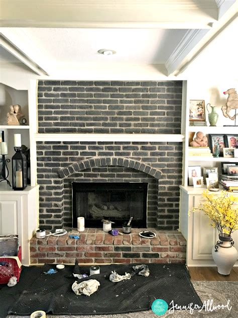painted fireplace how to paint a black brick fireplace allwood