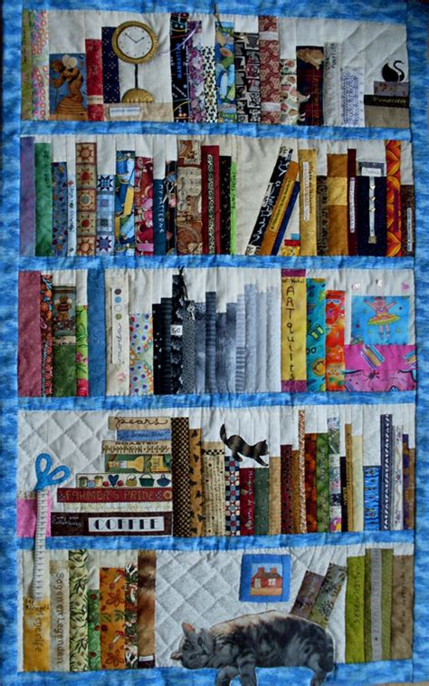 applique addict bookcase quilt