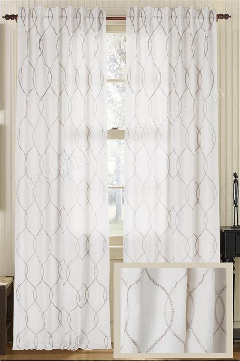 embroidered drapery panels embroidered wave amore luxury linen curtain panel