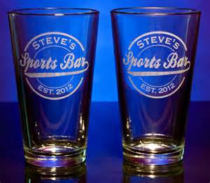 Monogrammed Bar Glasses Personalized Sports Bar Pint Glasses