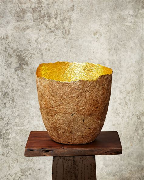 quot edge cut quot gold paper pulp pot benuarts