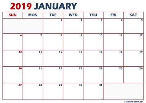 January 2019 Calendar Excel Template Printable Letter Template Calendar Sheets Images 2019 Calendar Template Excel